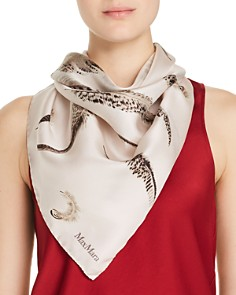 Max Mara - Feather Print Silk Scarf