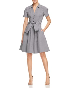 DKNY - Gingham Tie-Front Shirt Dress