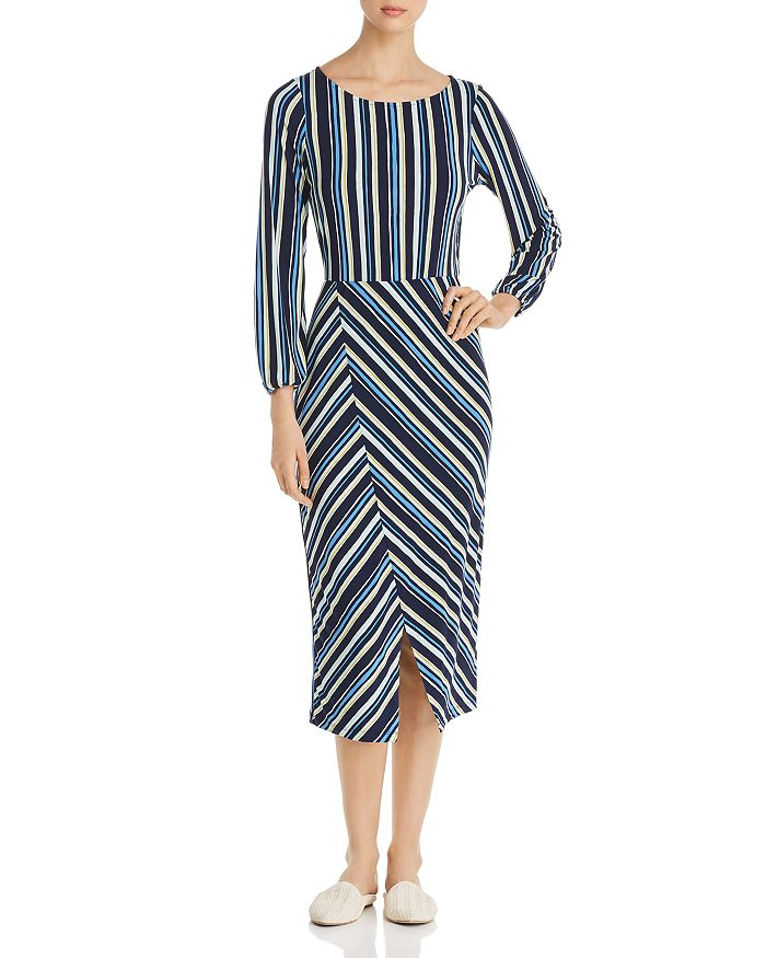 170e5fd896f Leota - Tiana Long-Sleeve Striped Midi Dress