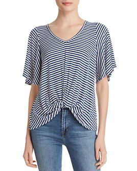Status by Chenault - Striped Twist-Front Top