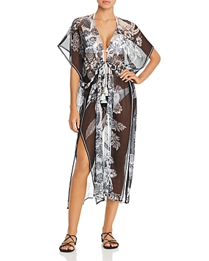 Open-Front Floral Caftan Swim Cover-Up