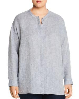 Eileen Fisher Plus Organic Linen Mandarin Collar Shirt