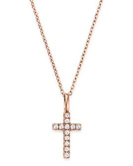 Bloomingdale's - Diamond Cross Pendant Necklace in 14K Rose Gold, 0.08 ct. t.w. - 100% Exclusive
