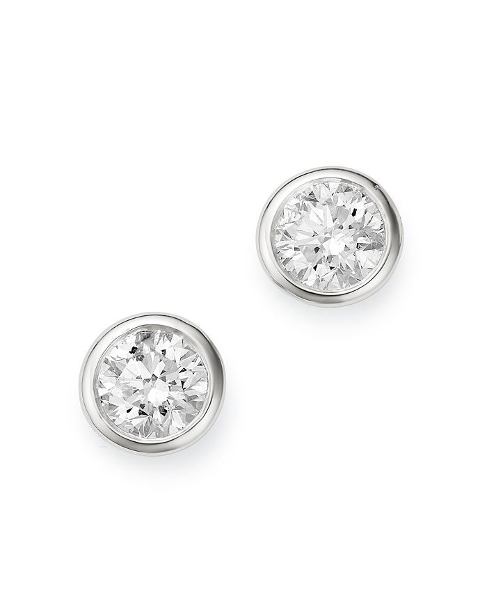 Bloomingdale's - Diamond Bezel Set Stud Earrings in 14K White Gold, 0.75 ct. t.w. - 100% Exclusive