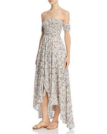 Olivaceous - Off-the-Shoulder Floral Maxi Dress
