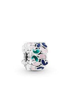 8bceed121 Pandora Sterling Silver & Multicolored Enamel Flower & Rainbow Charm ...
