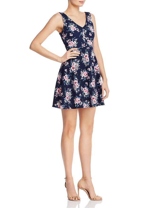 AQUA - Floral Fit-and-Flare Mini Dress - 100% Exclusive