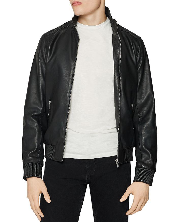 REISS - Harris Leather Bomber Jacket