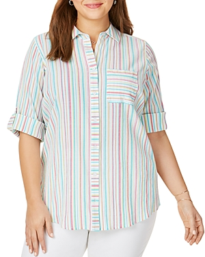 Foxcroft Plus Zen Striped Back-Overlay Shirt
