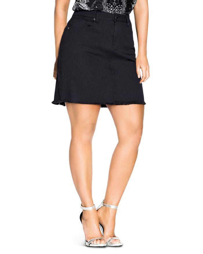 City Chic Plus - Distressed-Hem Denim Skirt