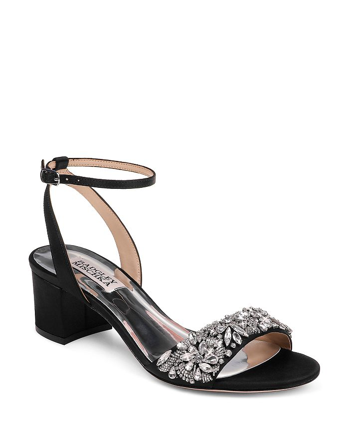 Badgley Mischka - Women's Ivanna Crystal-Embellished Block Heel Sandals