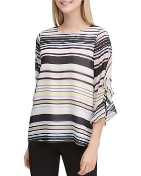 d625444ac68 Calvin Klein - Printed Ruffle-Sleeve Top ...