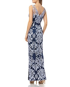 JS Collections - Floral Appliqué Gown