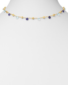 Marco Bicego - 18K Yellow Gold Paradise Iolite & Blue Topaz Beaded Collar Necklace, 16""