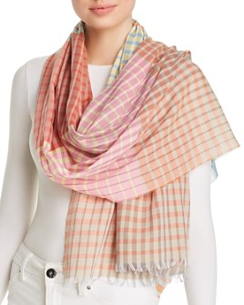 Abstract - Color-Block Plaid Scarf