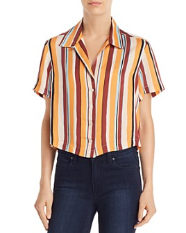 FRAME - Cropped Striped Shirt