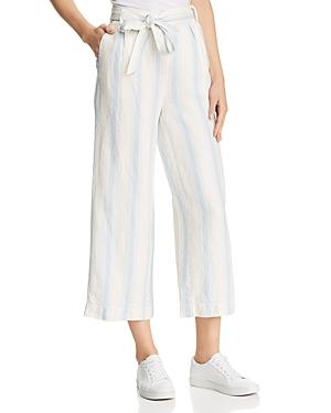 Frame Striped Wide-Leg Linen Pants