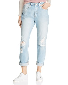 FRAME - Cuffed Distressed Straight-Leg Jeans in Glacier Park