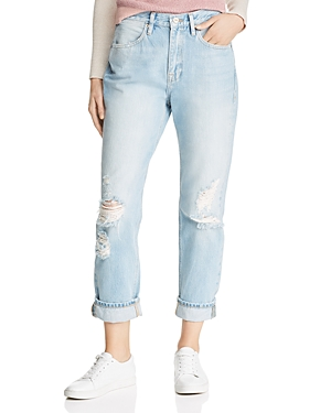 Frame Jeans CUFFED DISTRESSED STRAIGHT-LEG JEANS IN GLACIER PARK