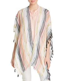Echo - Boardwalk Tasseled Striped Ruana