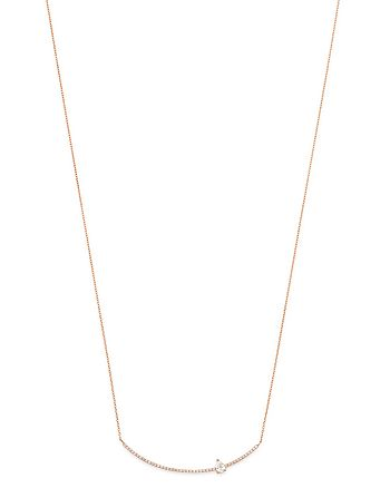 OWN YOUR STORY - 14K Rose Gold Linear Diamond Bar Necklace, 18""