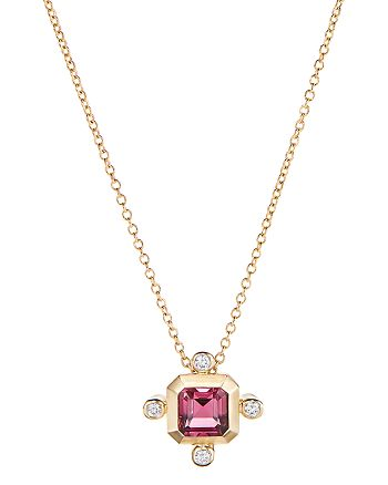 """David Yurman - 18K Yellow Gold Novella Pendant Necklace with Pink Tourmaline & Diamonds, 18"""""""