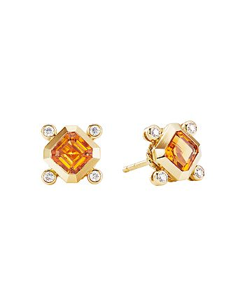 David Yurman - 18K Yellow Gold Novella Stud Earrings with Madeira Citrine & Diamonds