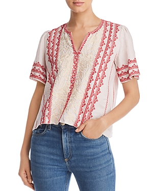 Johnny Was Tops CAMILLE EMBROIDERED LINEN TOP