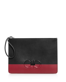 Salvatore Ferragamo - Firenze Logo Color-Block Leather Pouch