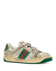 Gucci - Women's Screener Crystal Sneakers