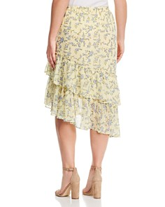 1.STATE Plus - Floral-Print Tiered Asymmetric Skirt
