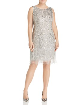 5852ab2dcd19 Adrianna Papell Plus - Beaded Fringe-Hem Dress ...