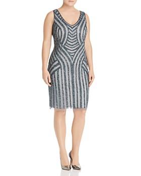 6495310037 Adrianna Papell Plus - Embellished Pattern Sheath Dress ...