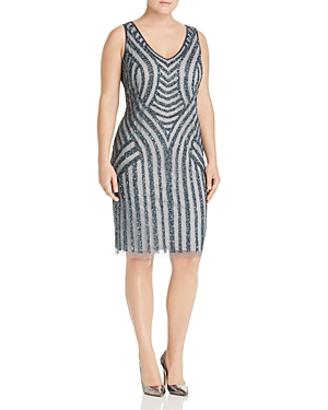 Adrianna Papell Plus Embellished Pattern Sheath Dress