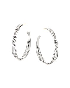 David Yurman - Sterling Silver Continuance Large Hoop Earrings