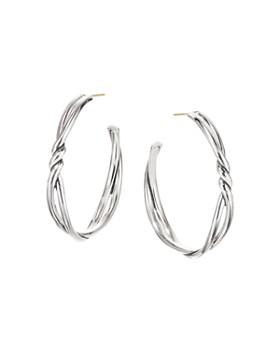 David Yurman - Sterling Silver Continuance Large Hoop Earrings