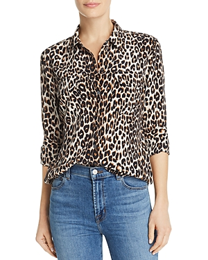 Equipment T-shirts Slim Signature Leopard-Printed Silk Shirt