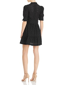 Rebecca Vallance - Valentina Belted Heart-Motif Eyelet-Lace Dress