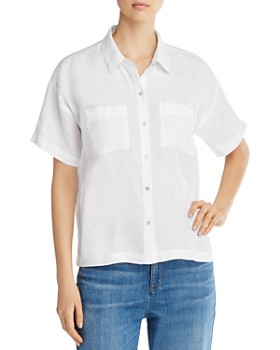 95f822395d5d9 Eileen Fisher - Organic Linen Button-Down Top ...