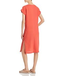 Eileen Fisher - Plissé Organic Cotton Side-Slit Dress