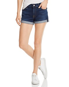 7 For All Mankind - Roll-Up Denim Shorts in Serrano Night