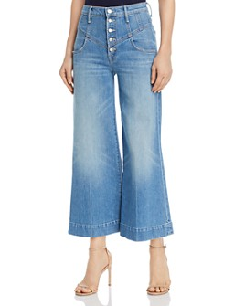 MOTHER - The Swooner Roller Cropped Wide-Leg Jeans in Post No Bills