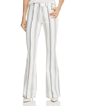 FRAME - Le High Flared Striped Jeans in Blanc Multi