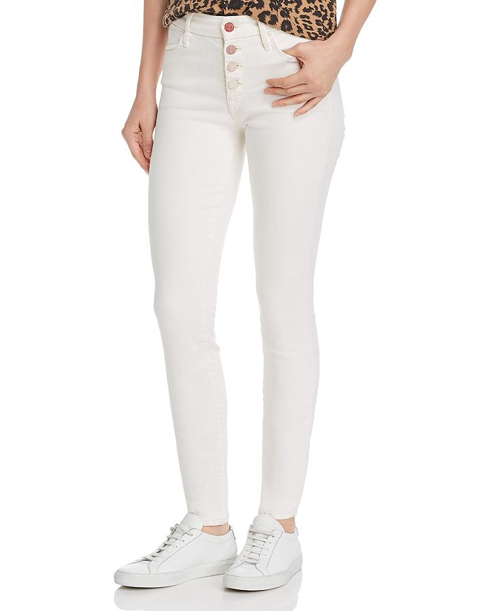 MOTHER - The Pixie Button-Fly Skinny Jeans in Taste The Rainbow