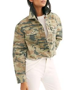 Free People - Camo Cropped Denim Jacket