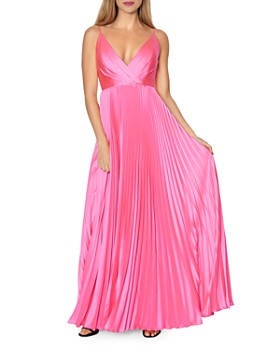Laundry by Shelli Segal - Pleated V-Neck Gown