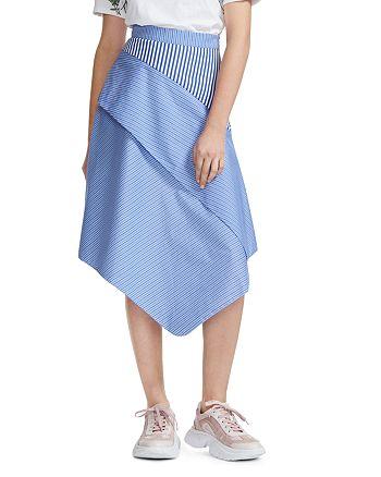 Maje - Jim Striped Asymmetric Cotton Midi Skirt