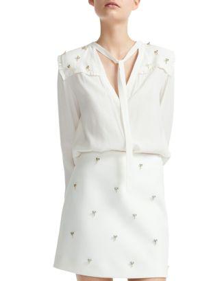Cil Tie Detail Blouse by Maje