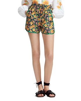 Maje - Ikael Piped Floral-Motif Mini Shorts
