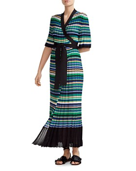 Maje - Ramacca Striped Wrap Maxi Dress